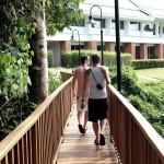 Bron mellan sportfaciliteterna och hotelldelen