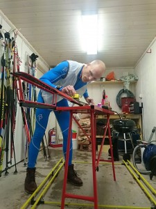 Martin preparing his skis the day before the race