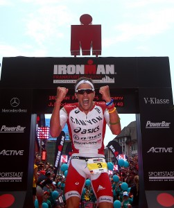 FRANKFURT, GERMANY - JULY 05: Jan Frodeno of Germany celebrates as he wins the mens race during Ironman Frankfurt on July 05, 2015 in Frankfurt, Germany. (Photo by Charlie Crowhurst/Getty Images for Ironman) *** Local Caption *** Jan Frodeno